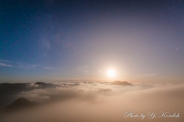 Sea of Clouds under a full moon-2